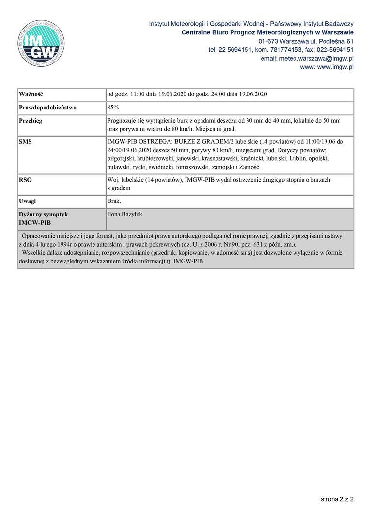 OSTRZEŻENIA METEOROLOGICZNE ZBIORCZO NR 83