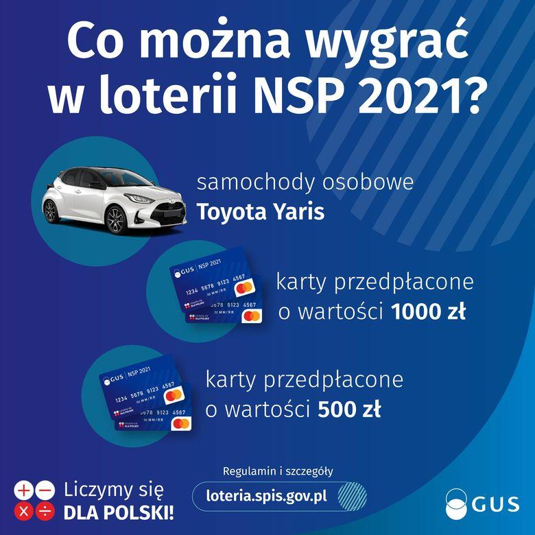 Plakat 2 Co można wygrać w loterii NSP 2021? samochody osobowe Toyota Yaris GUS NSP 2021 karty przepłacone o wartości 1000 zł karty przedpłacone o wartości 500 zł Regulamin i szczegóły loteria.spis.gov.pl GUS