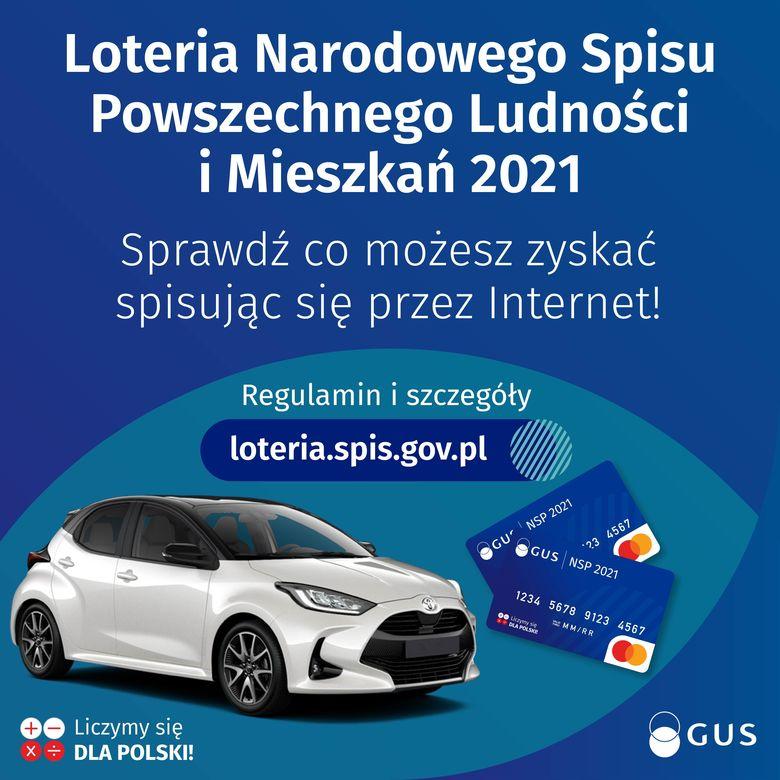 Plakat 1 Loteria Narodowego Spisu Powszechnego Ludności i Mieszkań 2021 Sprawdź co możesz zyskać spisując się przez Internet! Regulamin i szczegóły loteria.spis.gov.pl
