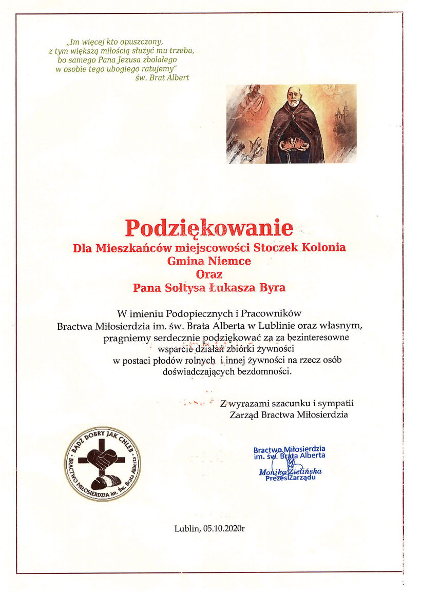 Grafika przedstawia podziękowanie dla mieszkańców Stoczka Kolonii i sołtysa miejscowości od Bractwa Miłosierdzia im. św. Brata Alberta