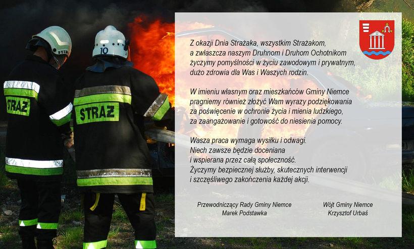 Na zdjęciu grafika przedstawiająca strażaków z treścią życzeń zamieszczonych powyżej