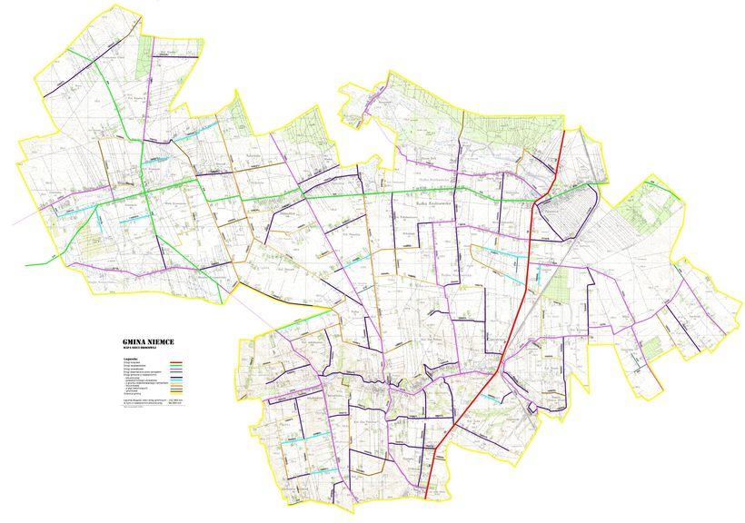 mapa dróg w Gminie Niemce