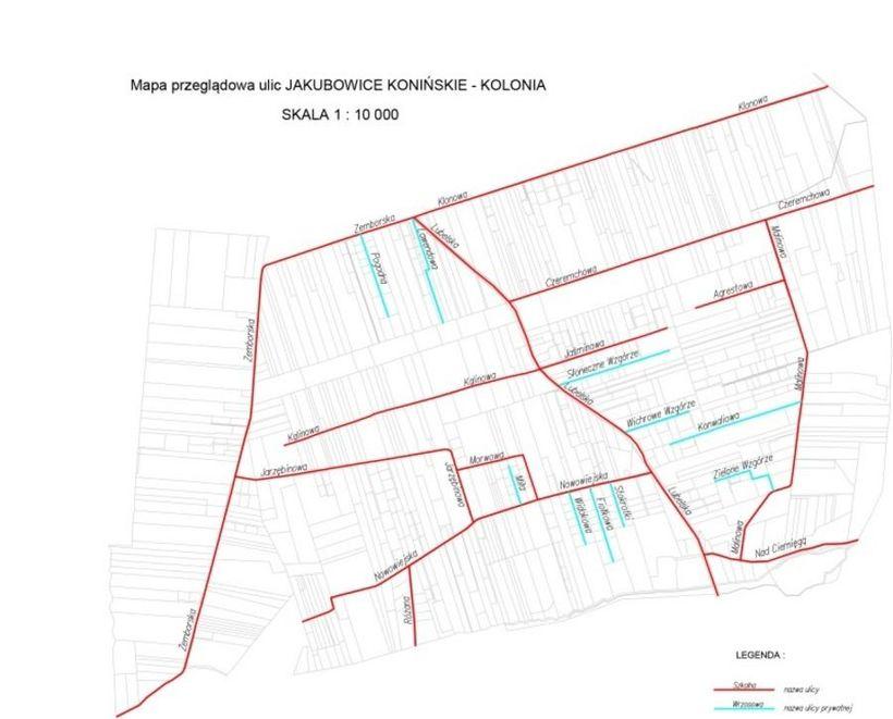 Mapa ulic w miejscowości Jakubowice Konińskie - Kolonia