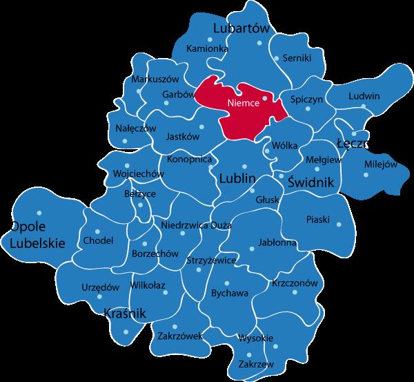 Mapa województwa z zaznaczoną gmina Niemce na czerwono