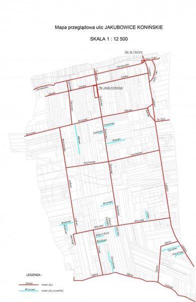 Mapa ulic w miejscowości Jakubowice Konińskie
