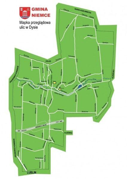 Obrazek przedstawia mapę ulic w miejscowości Dys