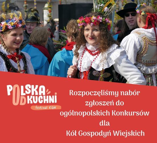 Baner z napisem: POLSKA Rozpoczęliśmy nabór zgłoszeń do ogólnopolskich Ronkursów UDKUCHNI festiwal KGW dla Kół Gospodyń Wiejskich