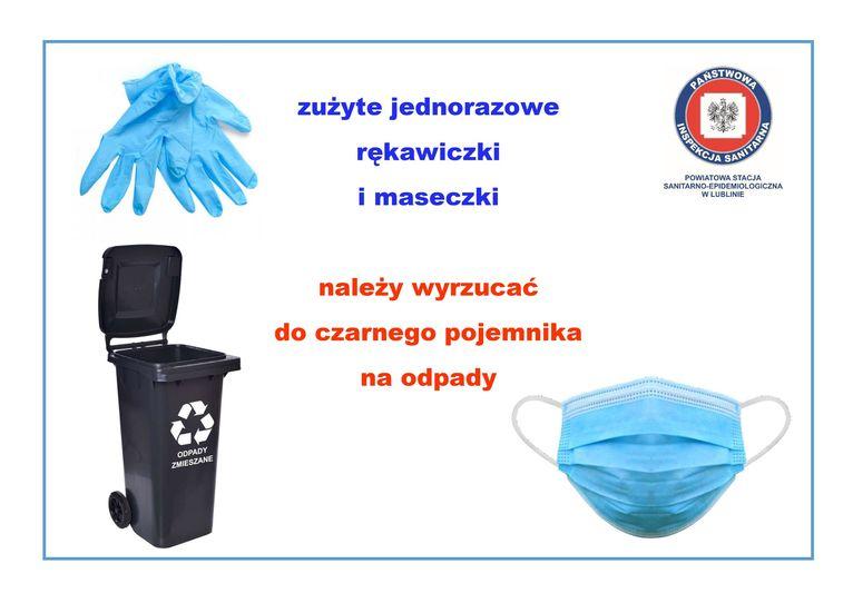Ulotka - Informacja w sprawie zużytych rękawiczek i maseczek zużyte jednorazowe rękawiczki  i maseczki  należy wyrzucać do czarnego pojemnika na odpady Opady ZMIESZANE