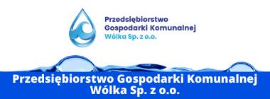 Logo PGK WÓLKA plus napis na niebieskim pasku na dole  Przedsiębiorstwa Gospodarki Komunalnej Wólka Sp. z o.o.