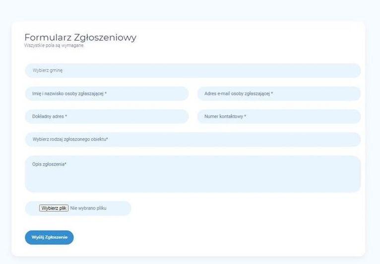 Skrin z programu - formularz usterki