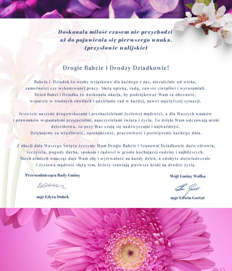 Życzenia w formie graficznej z różowymi kwiatami.