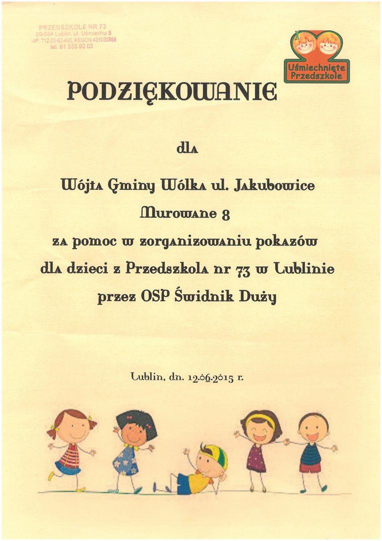 Wójt Gminy Wólka, Edwin Gortat otrzymał podziękowania za pomoc w zorganizowaniu pokazów dla dzieci z Przedszkola nr 73 w Lublinie przez OSP Świdnik Duży.