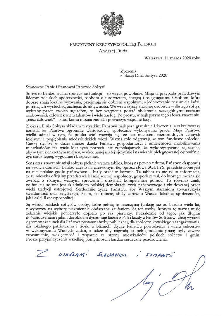 Życzenia od Prezydenta Rzeczypospolitej Polskiej Andrzeja Dudy z okazji Dnia Sołtysa 2020