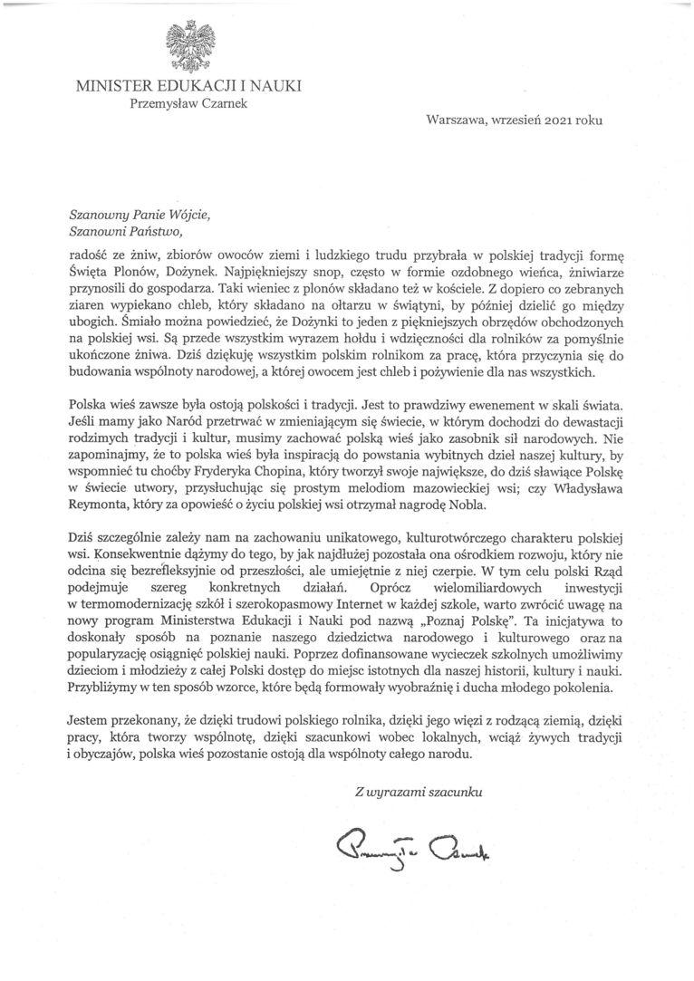 Życzenia skierowane od Ministra Edukacji i Nauki Przemysława Czarnka do Uczestników i Organizatorów uroczystości dożynkowych