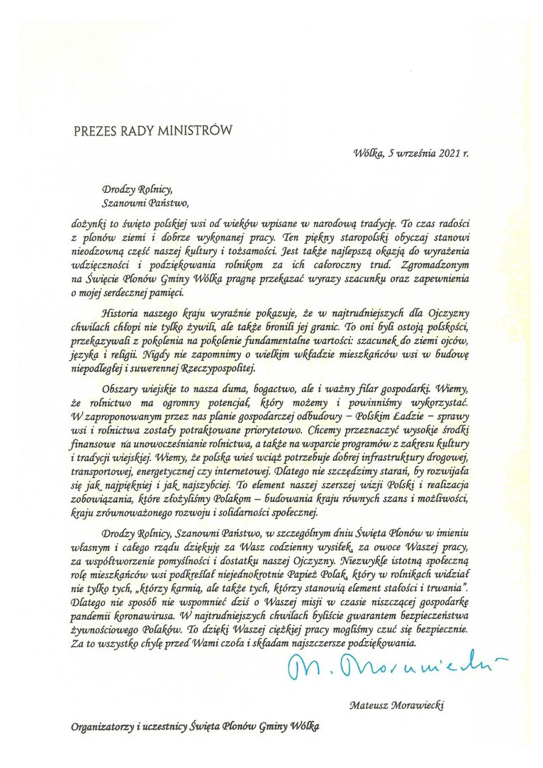 Życzenia skierowane od Prezesa Rady ministrów Mateusza Morawieckiego do Uczestników i Organizatorów uroczystości dożynkowych