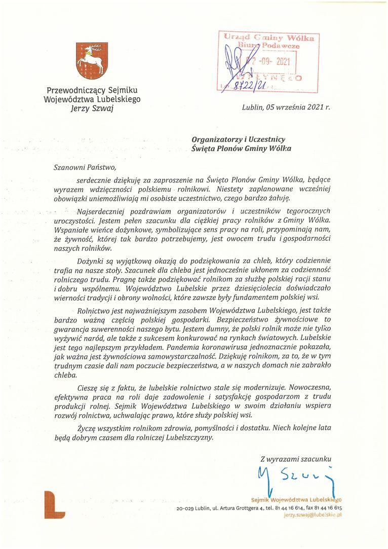 Życzenia skierowane od Przewodniczącego Sejmiku Województwa Lubelskiego Jerzego Szwaja do Uczestników i Organizatorów uroczystości dożynkowych