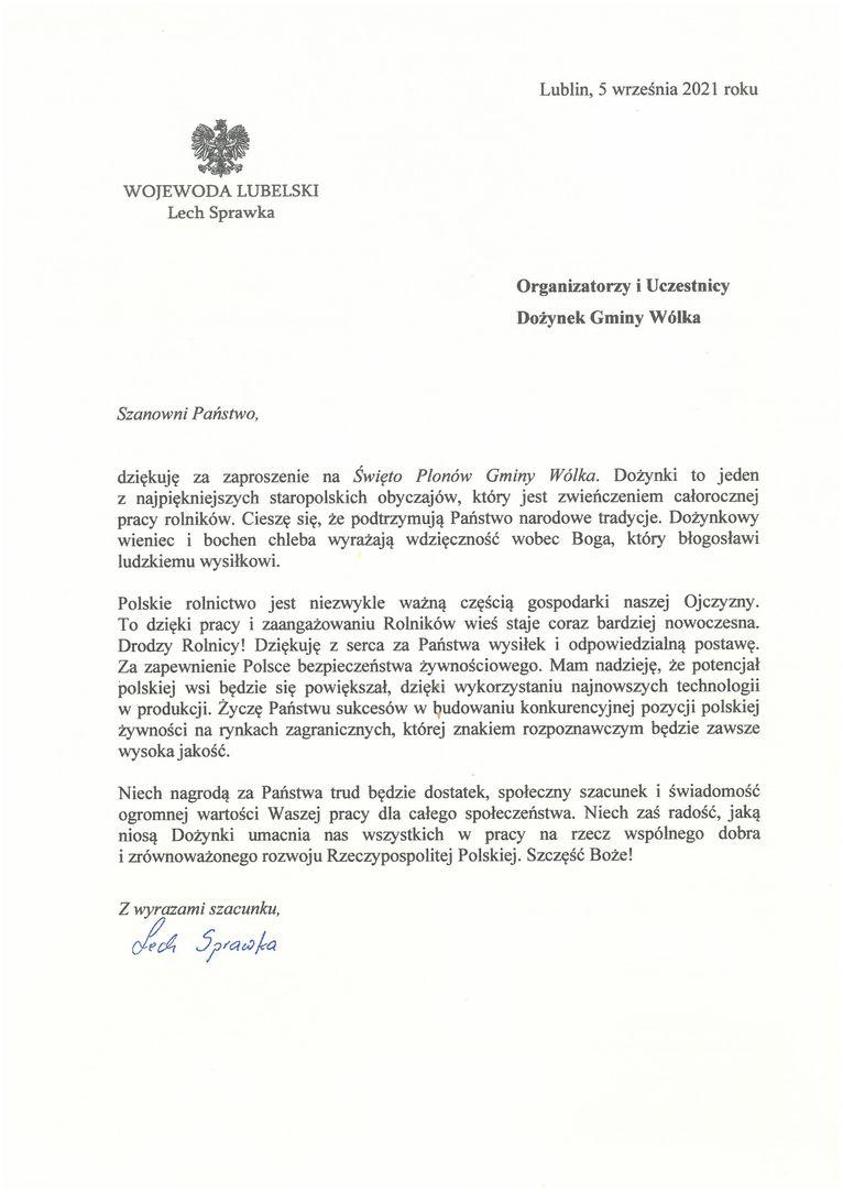 Życzenia skierowane od Wojewody Lubelskiego Lecha Sprawki do Uczestników i Organizatorów uroczystości dożynkowych