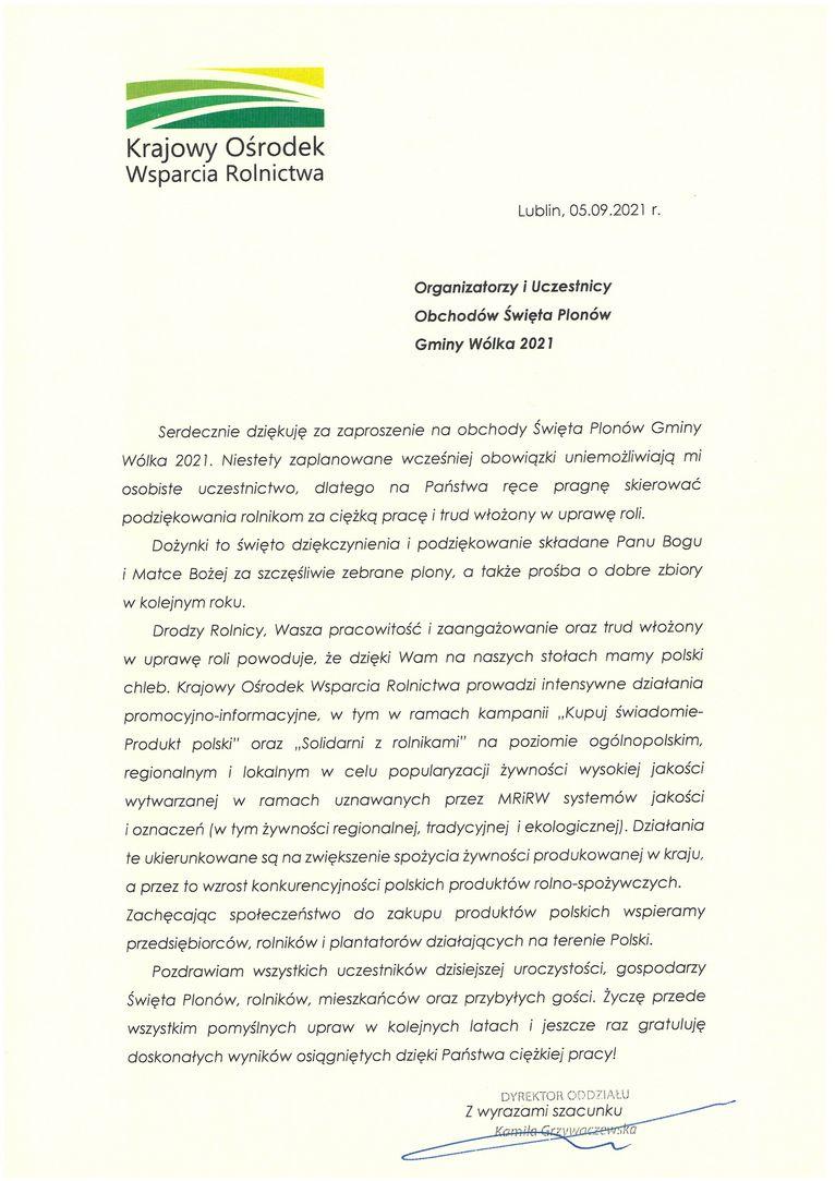 Życzenia skierowane od Dyrektor Oddziału Lubelskiego Krajowego Ośrodka Wsparcia Rolnictwa Kamili Grzywaczewskiej do Uczestników i Organizatorów uroczystości dożynkowych