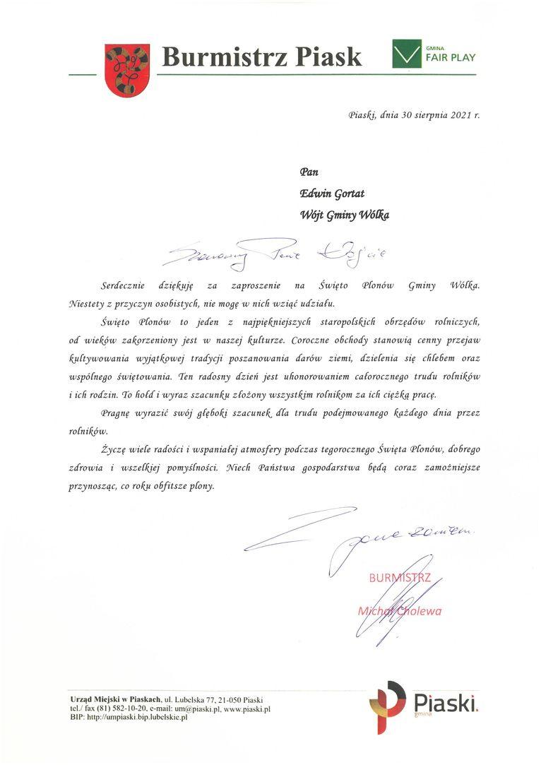 Życzenia skierowane od Burmistrza Piask Michała Cholewy do Uczestników i Organizatorów uroczystości dożynkowych