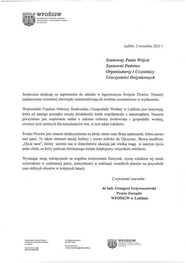 Życzenia skierowane od Prezesa Zarządu Wojewódzkiego Funduszu Ochrony Środowiska i Gospodarki Wodnej w Lublinie do Uczestników i Organizatorów uroczystości dożynkowych