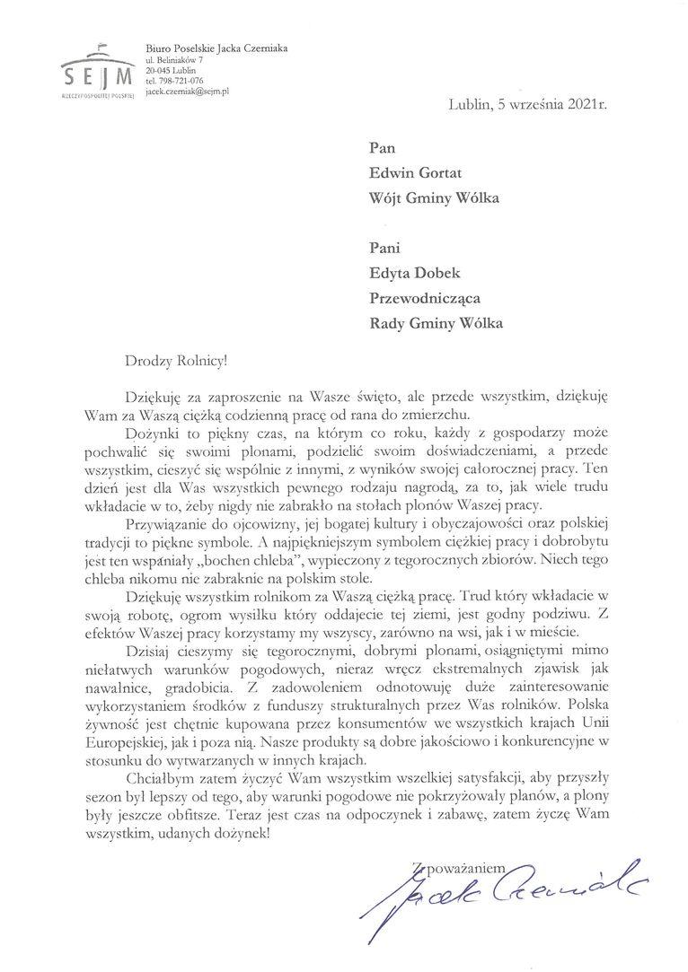 Życzenia skierowane od Posła na Sejm Rzeczypospolitej Polskiej Jacka Czerniaka do Uczestników i Organizatorów uroczystości dożynkowych