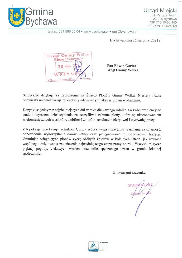 Życzenia skierowane od Burmistrza Bychawy Janusza Urbana do Uczestników i Organizatorów uroczystości dożynkowych