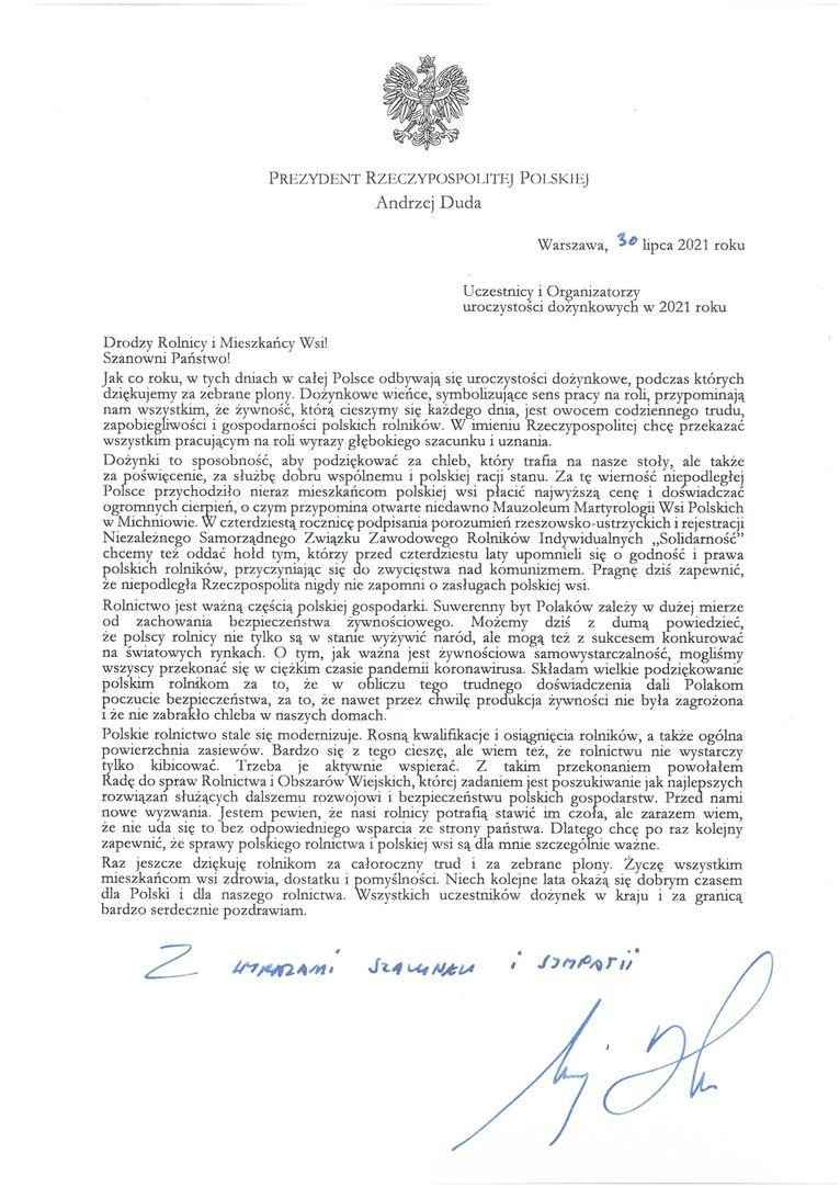 Życzenia skierowane od Prezydenta Rzeczypospolitej Polskiej Andrzeja Dudy do Uczestników i Organizatorów uroczystości dożynkowych
