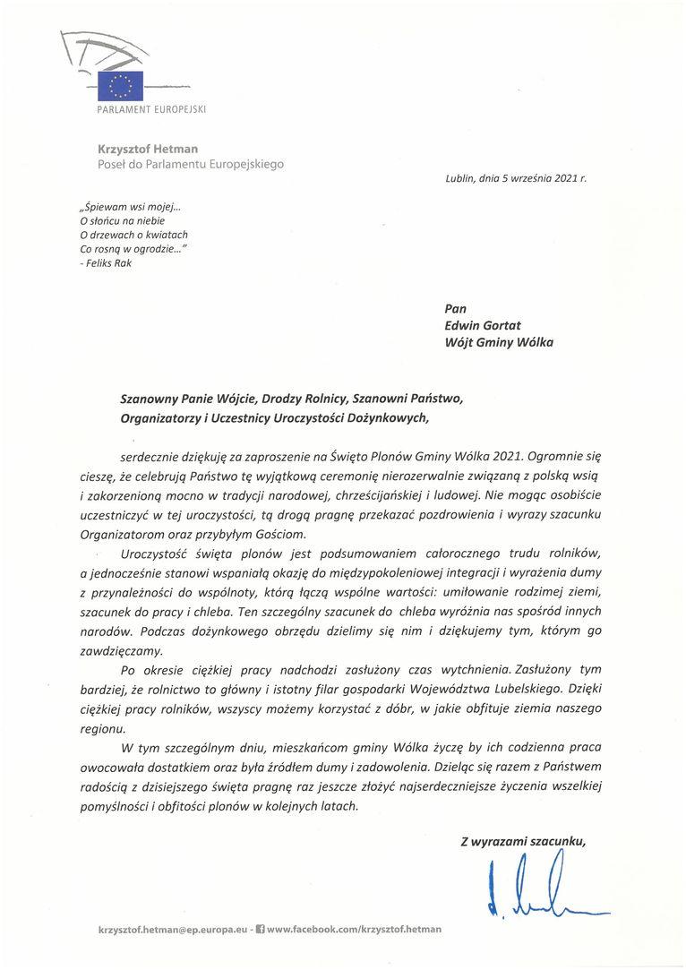 Życzenia skierowane od Posła do Parlamentu Europejskiego Krzysztofa Hetmana do Uczestników i Organizatorów uroczystości dożynkowych