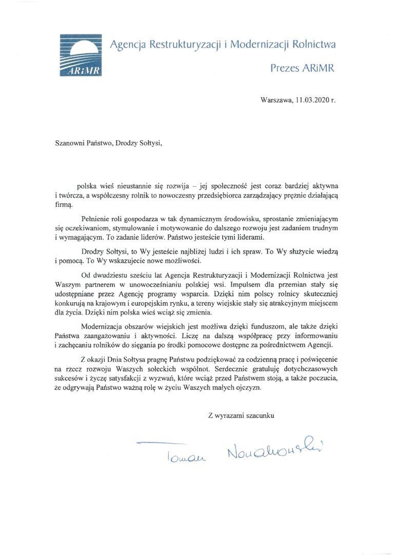 Życzenia od Prezesa ARiMR Pana Tomasza Nowakowskiego z okazji Dnia Sołtysa 2020
