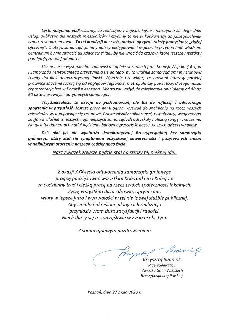 Życzenia dla gminy Wólka z okazji 30-lecie Samorządu Terytorialnego w Polsce