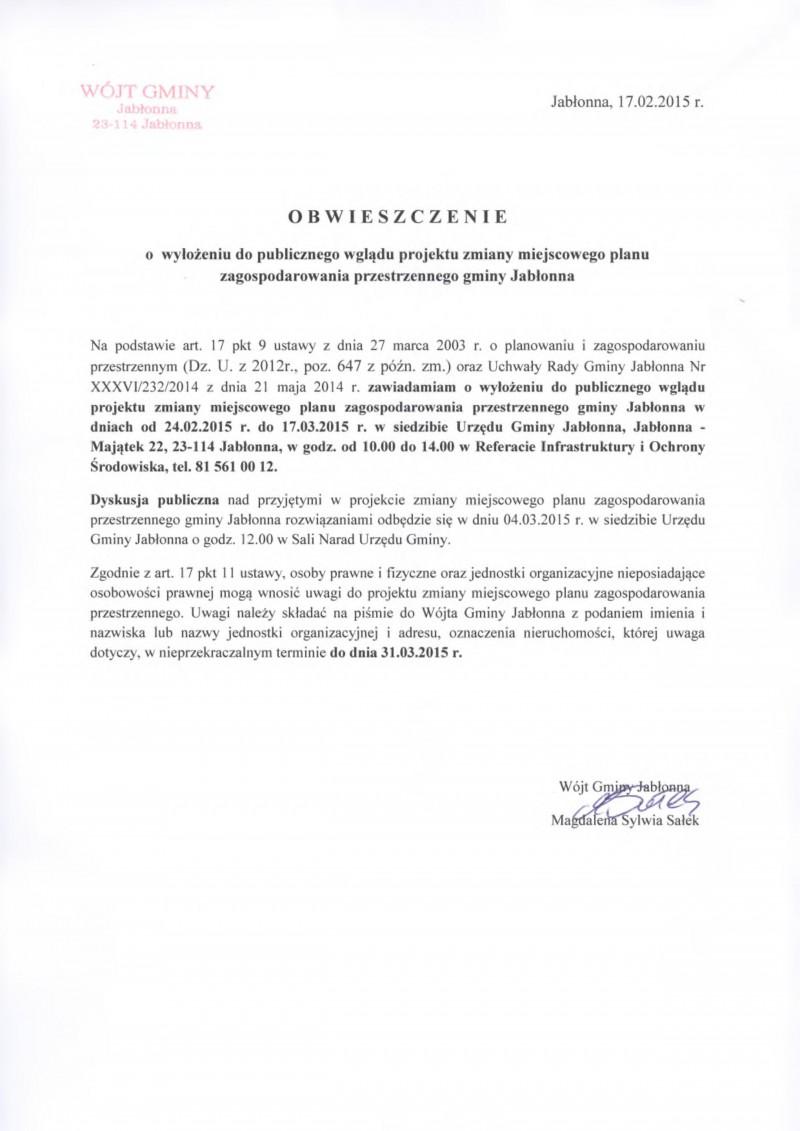 Obwieszczenie o wyłożeniu do publicznego wglądu projektu zmiany miejscowego planu zagospodarowania przestrzennego gminy Jabłonna