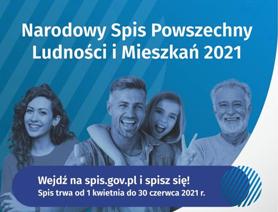 Grafika: Uśmiechnięta rodzina i napis: Narodowy Spis Powszechny Ludności i Mieszkań 2021 Wejdź na spis.gov.pl i spisz się! Spis trwa od 1 kwietnia do 30 czerwca 2021r.