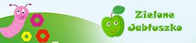 grafika tło robaczek na łące i logo Sielone Jabuszko