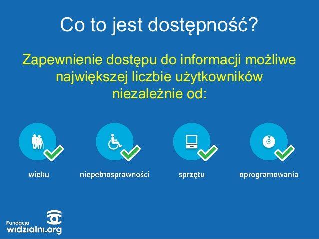 Informacja na niebieskim tle co to jest dostępność