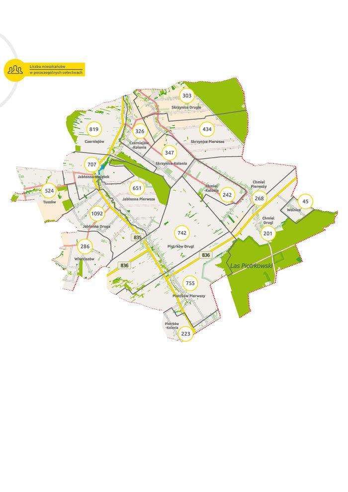 Mapa sołectw z podziałem na liczbę ludności