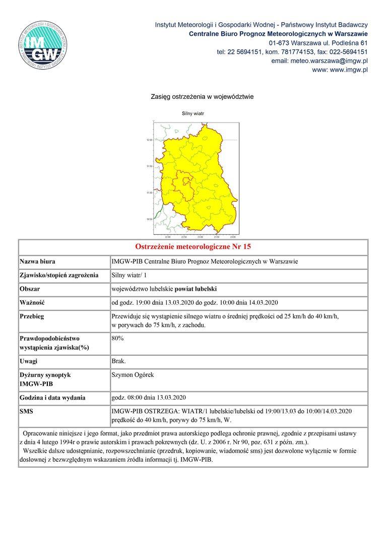Plik jpg - Ostrzeżenie meteorologiczne Nr 15Ostrzeżenie meteorologiczne Nr 15