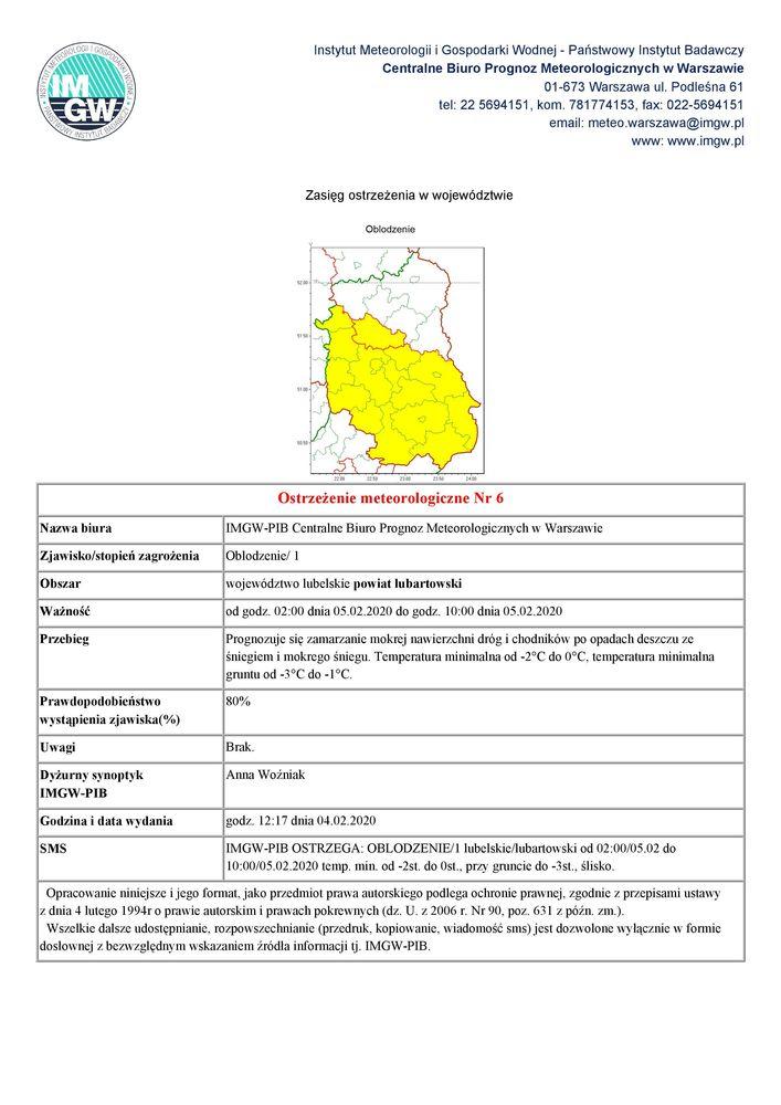 Plik jpg - Ostrzeżenie meteorologiczne Nr 6