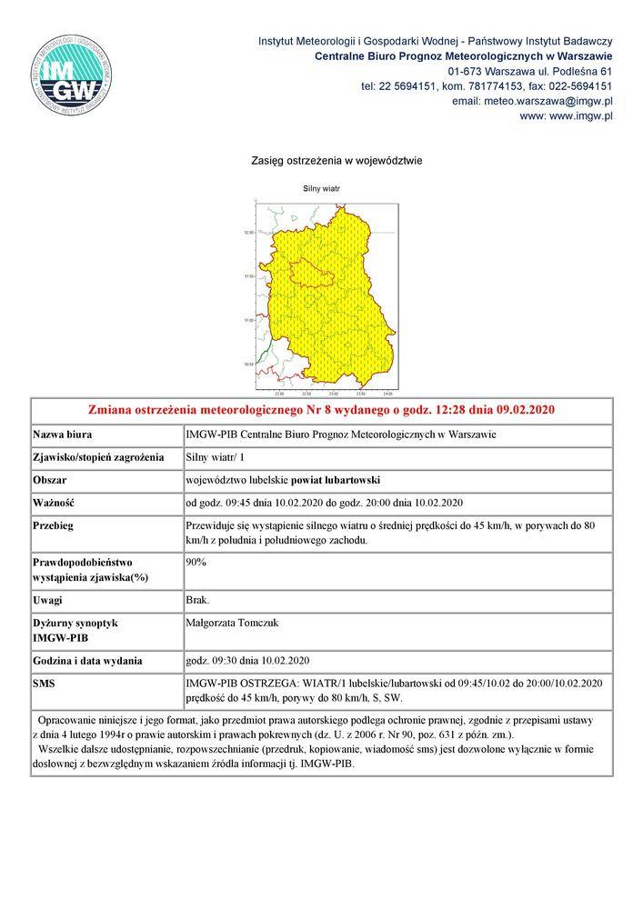 Plijk jpg - Zmiana ostrzeżenia meteorologicznego Nr 8 wydanego o godz. 12:28 dnia 09.02.2020
