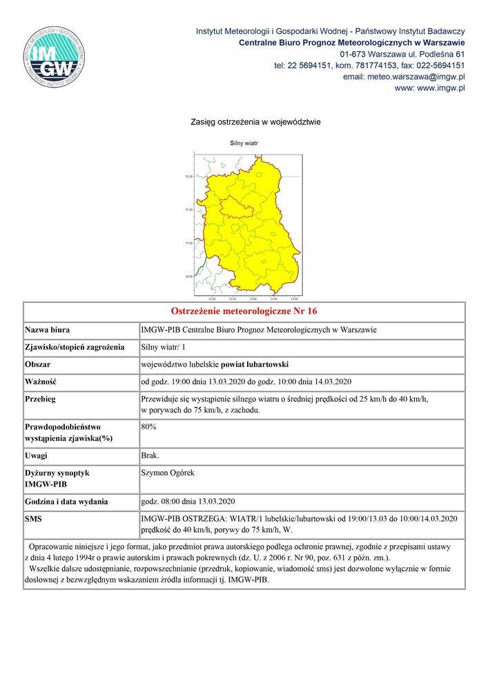Plik jpg - Ostrzeżenie meteorologiczne Nr 16