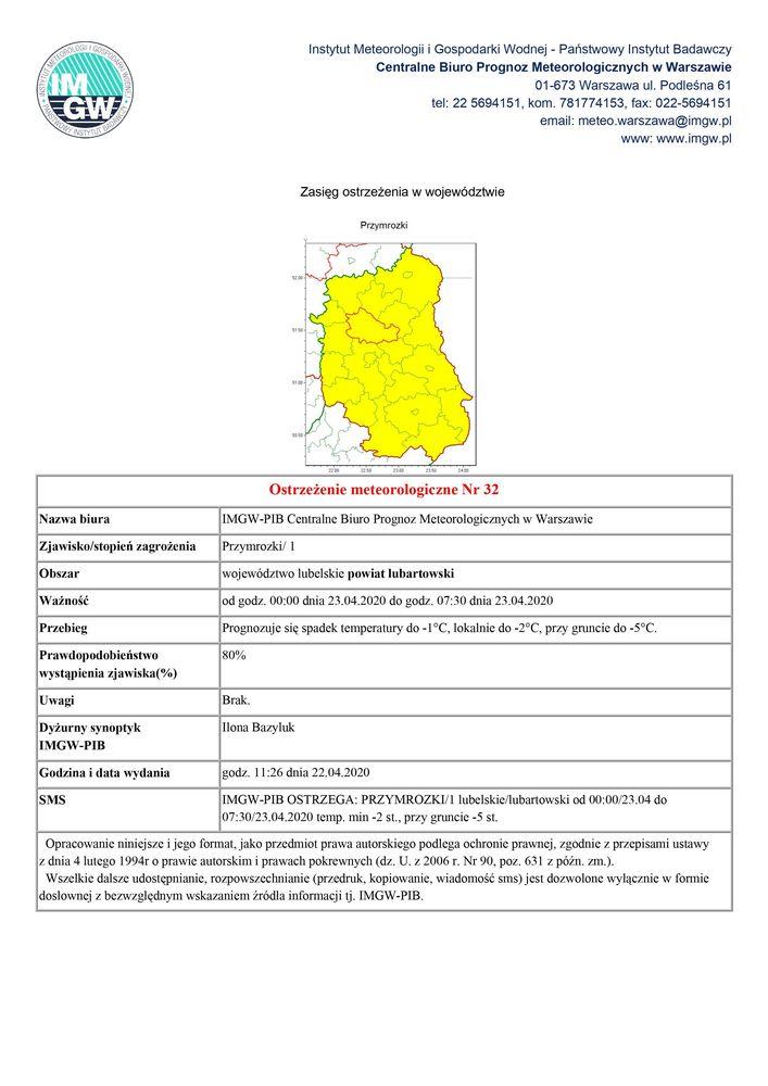 Plik jpg - Ostrzeżenie meteorologiczne Nr 32