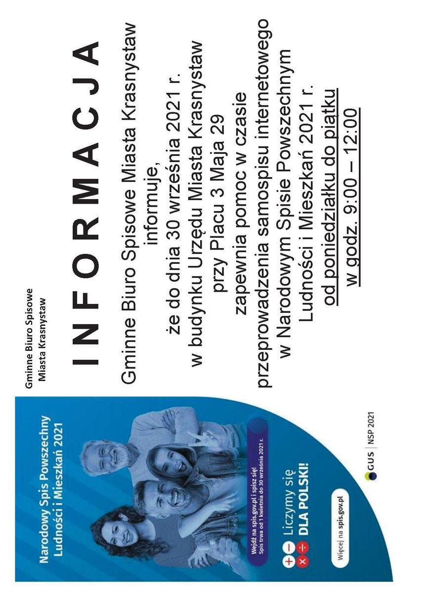Plakat z informacjami o spisie