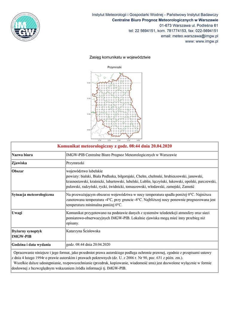 Plik jpg - Komunikat meteorologiczny z godz. 08:44 dnia 20.04.2020