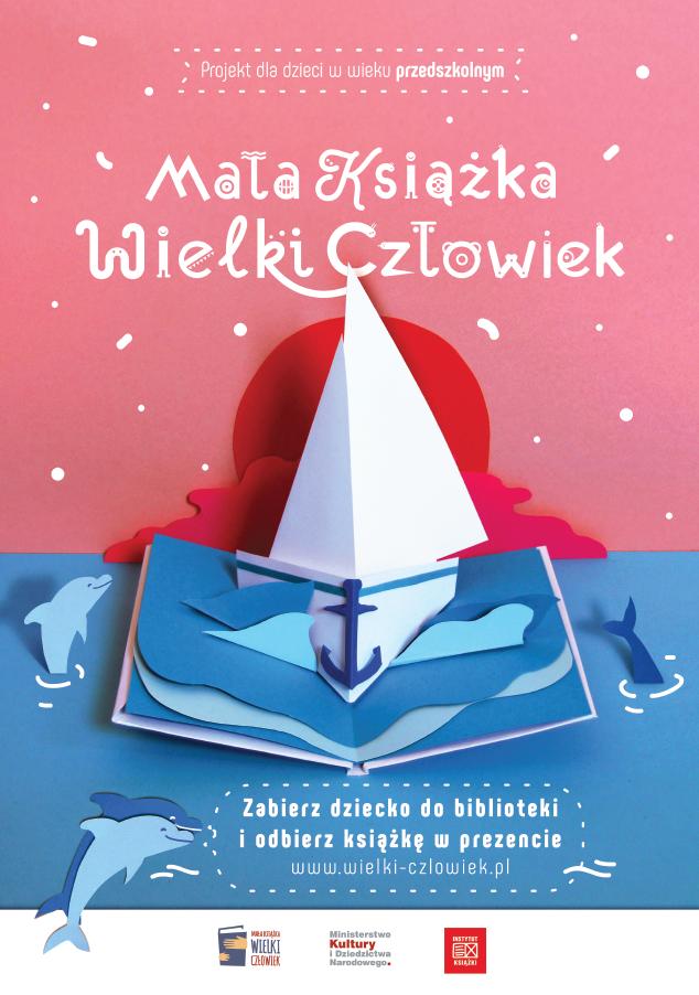 Plakat: Projekt dla dzieci w wieku przedszkolnym Mata Książka Wielki Człowiek Zabierz dziecko do biblioteki i odbierz książkę w prezencie www.wielki-czlowiek.pl