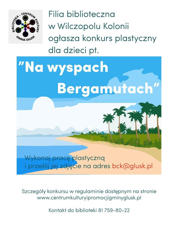 Plakat: CENTRUM Filia biblioteczna w Wilczopolu Kolonii ogłasza konkurs plastyczny dla dzieci pt. GMINA GŁUSK