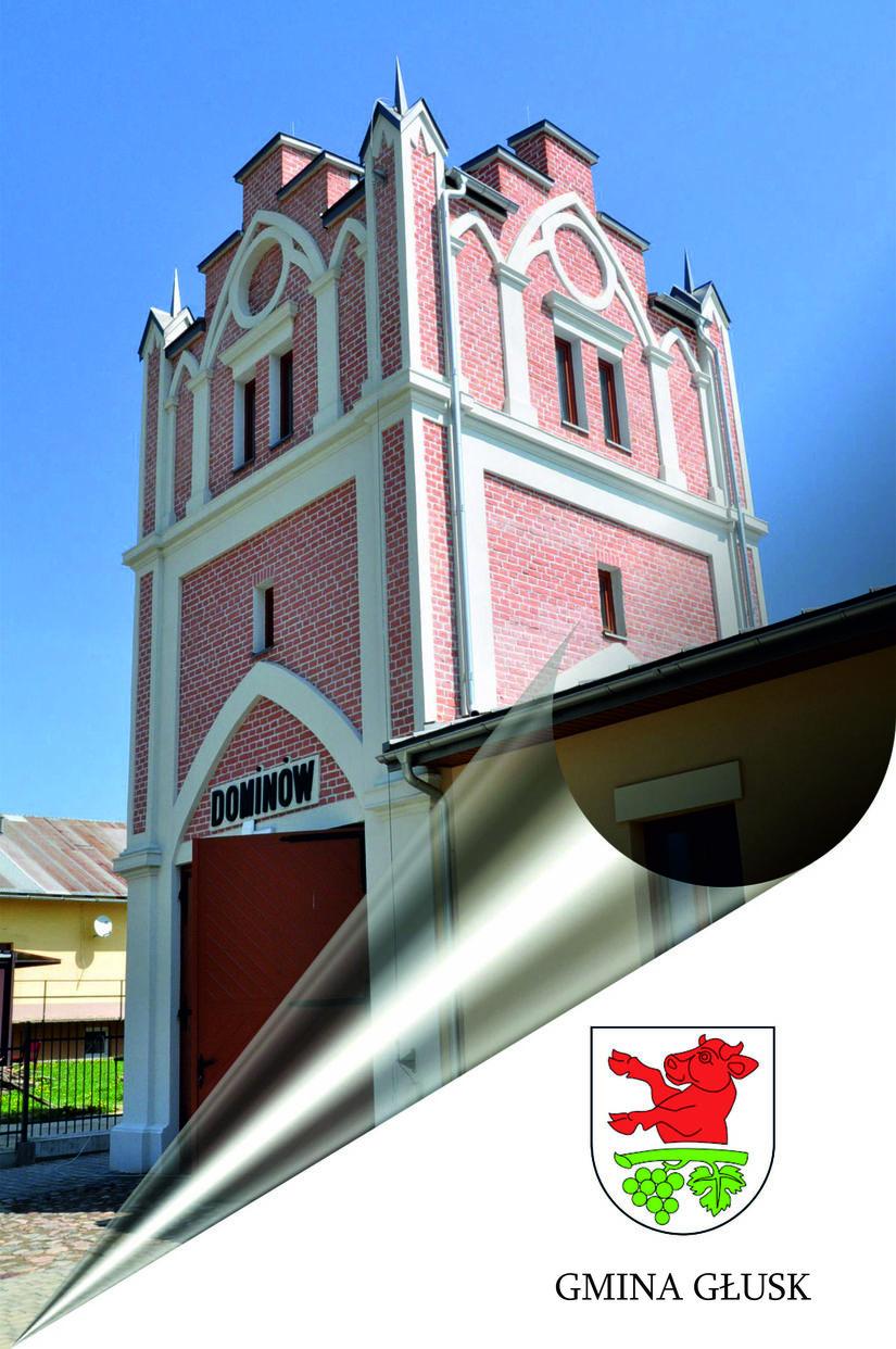 Zdjęcie Brama wieża z herbem Gminy Głusk