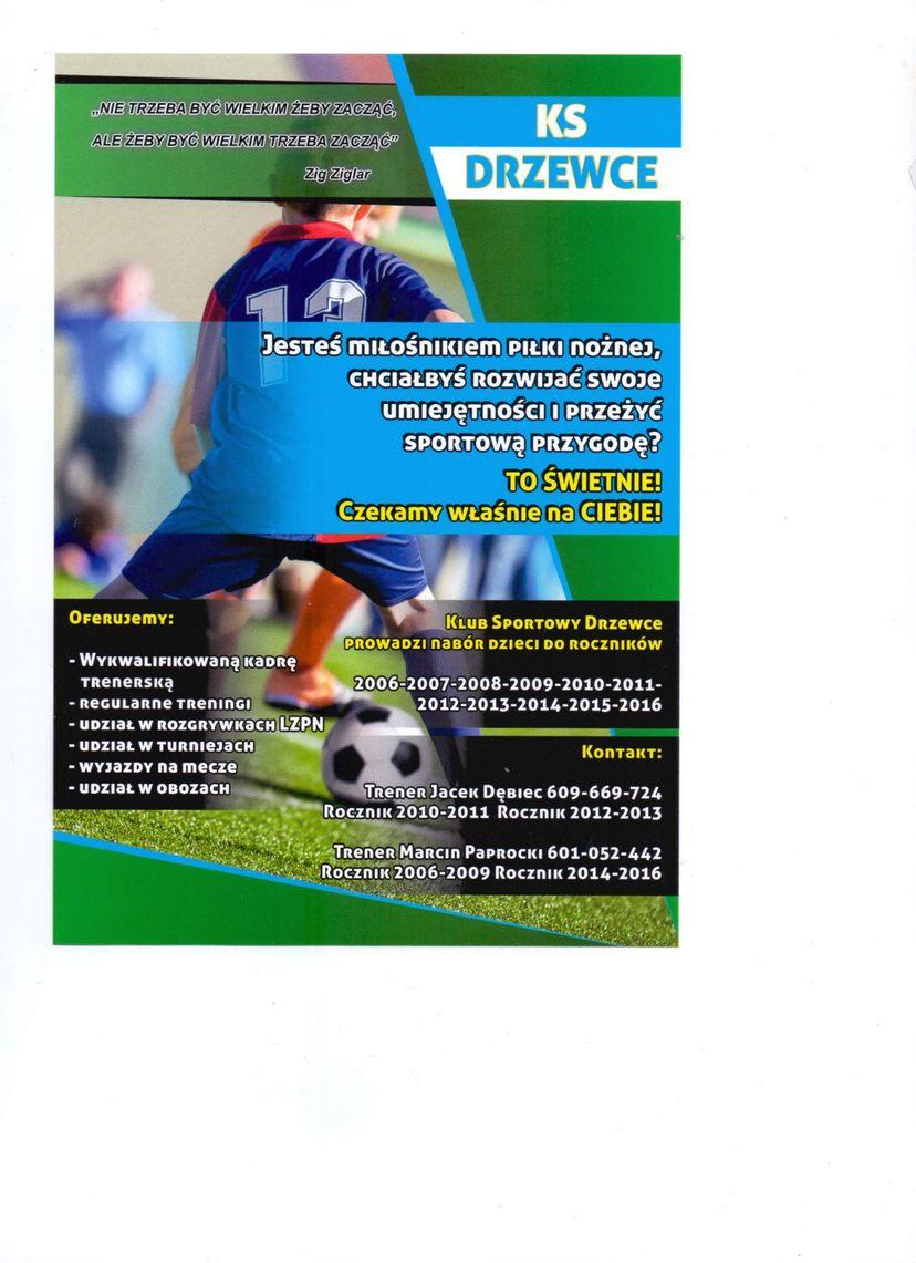 Plakat - Nabór do klubu sportowego Drzewce