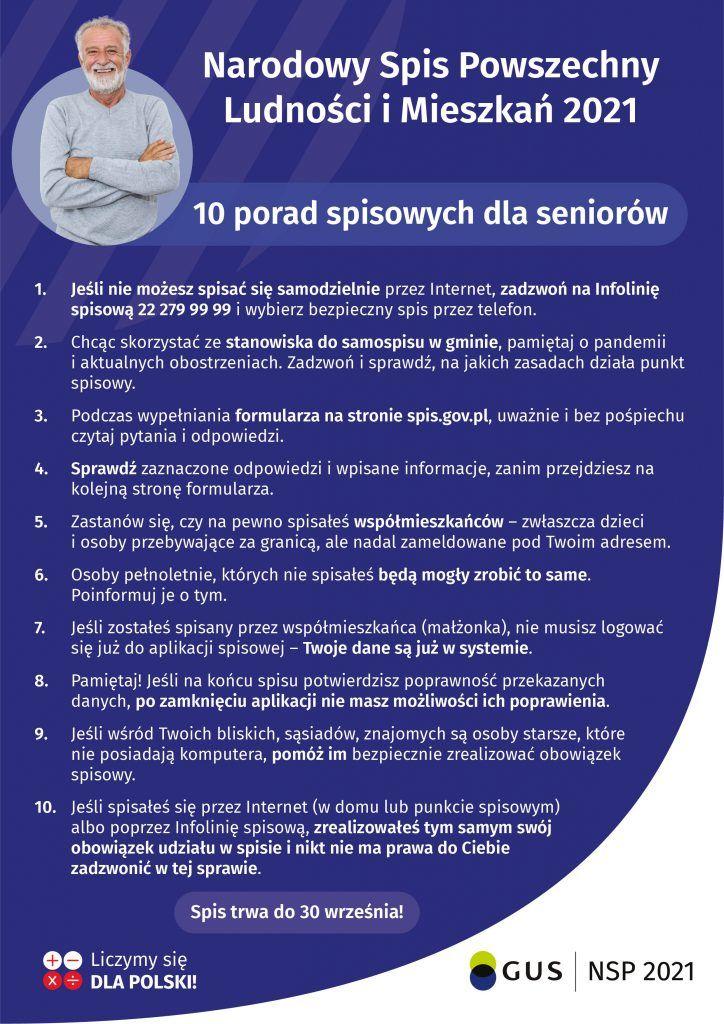 10 porad dla seniora w formie plakatu