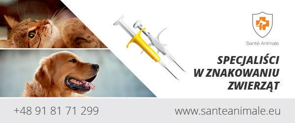 Baner: Santė Animale SPECJALIŚCI W ZNAKOWANIU ZWIERZĄT +48 91 81 71 299 www.santeanimale.eu