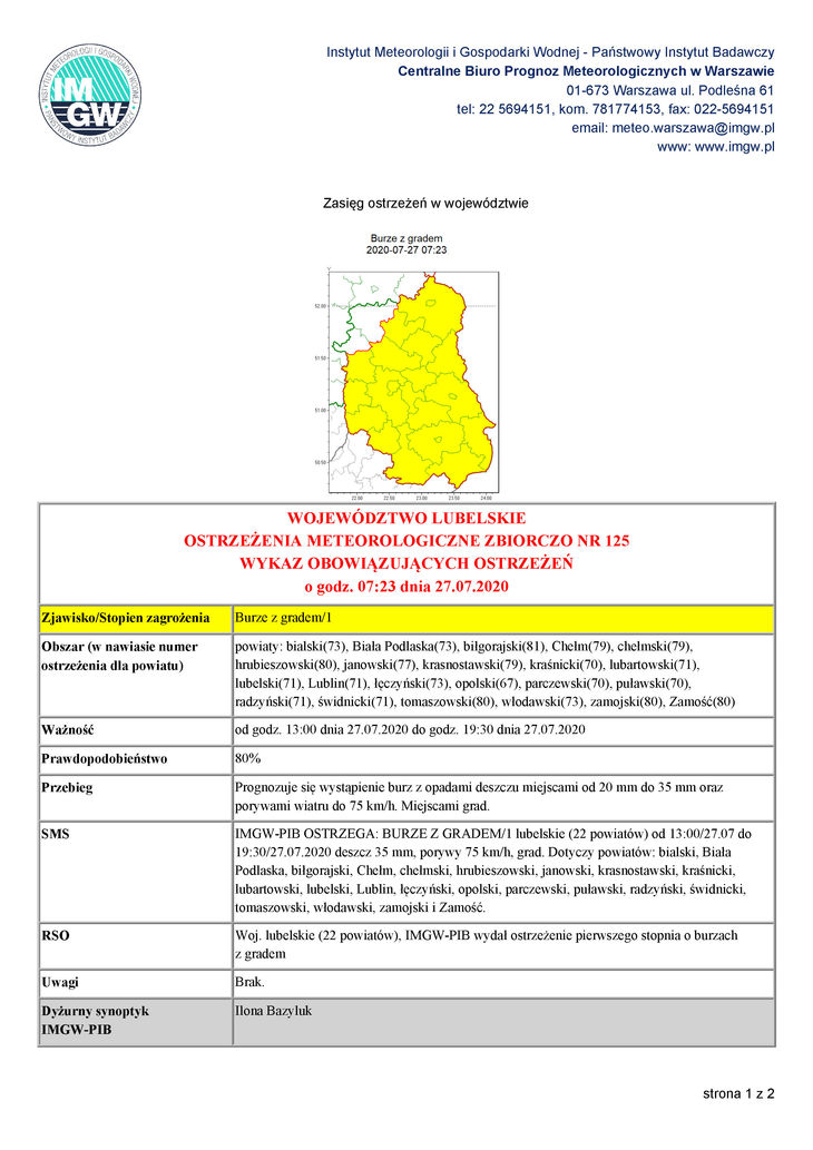 prognoza niebezpiecznych zjawisk meteorologicznych s. 1