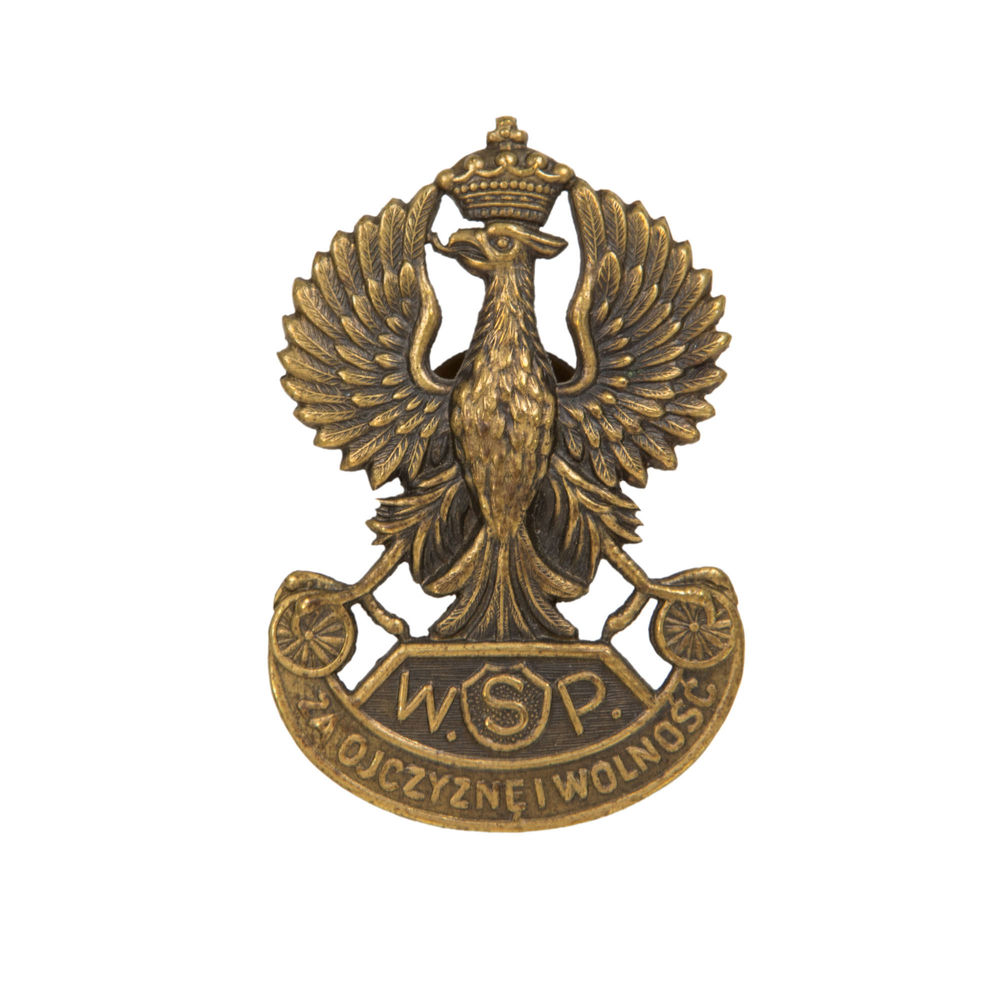 Eagle of the 5th Polish Rifle Division in Siberia, brass, stamping, Russia, 1919